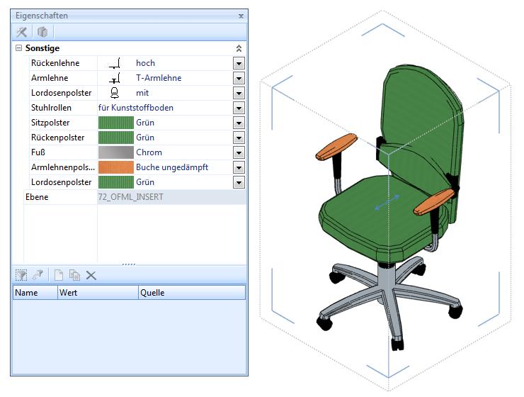 Konfigurierbarer Drehstuhl im pCon.planner Pro