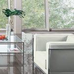 Bosse Chaiselongue mit integriertem Beistelltisch Klarglas