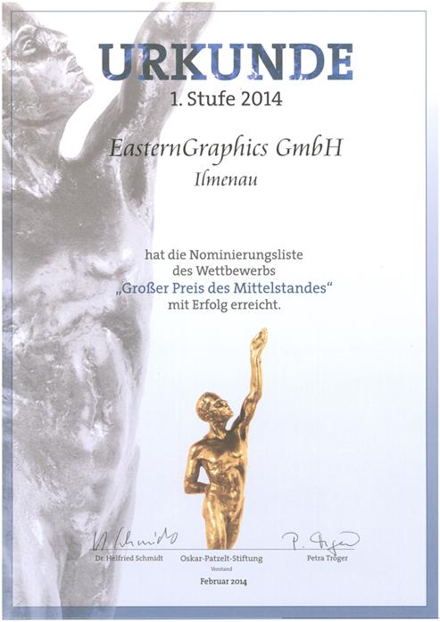 """Nominierung für den """"Großen Preis des Mittelstandes 2014"""""""
