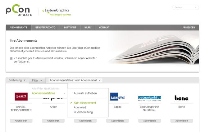 Das pCon.update-Portal in modernem Design.