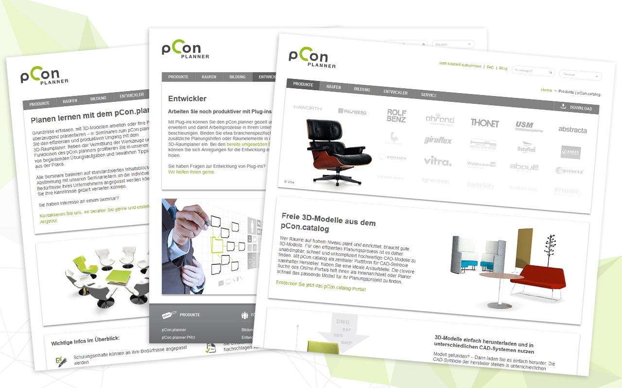 pCon.planner Webseite: Infos zu Schulungen, Plug-ins, für Entwickler, Studenten
