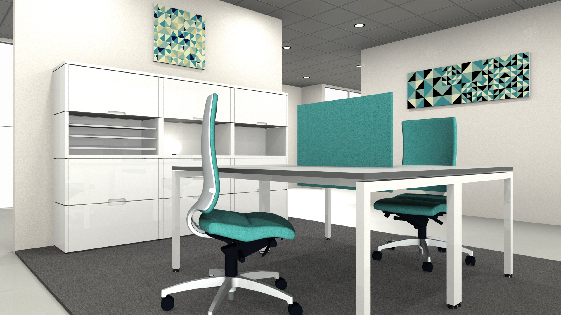 Mit Produkten der Firma Identi eingerichtetes Büro