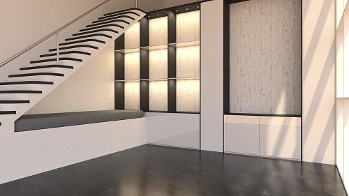 kahler Wohnraum mit Beleuchtung gerendert