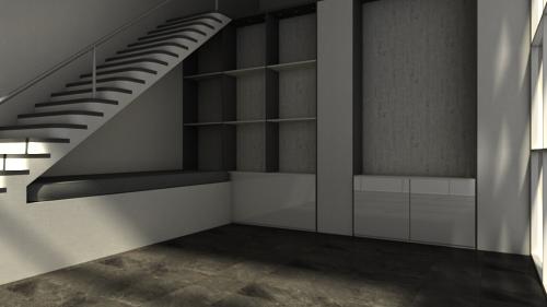 kahler Wohnraum mit horizontal ausgerichteter Kamera gerendert