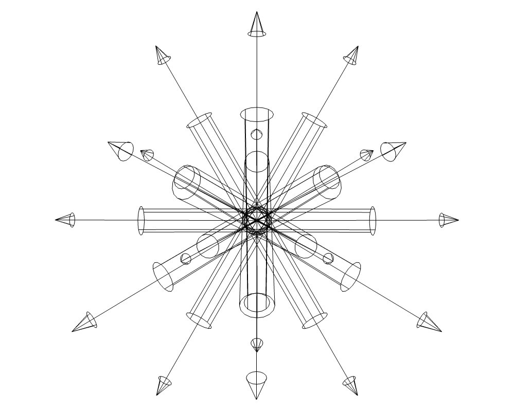 """Die """"Lichtkugel"""" in der Drahtgitter Ansicht"""