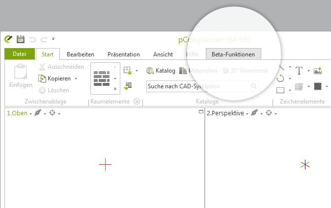 Der neue Beta-Funktionen-Tab im pCon.planner
