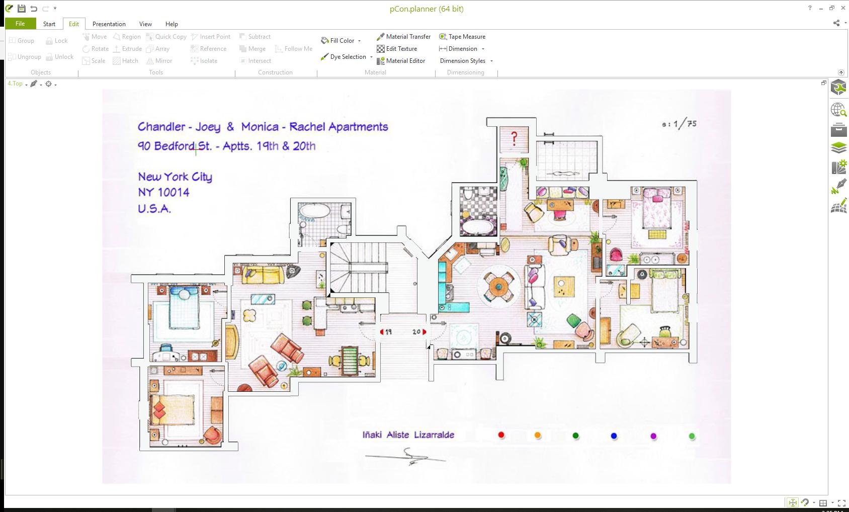 """Treten Sie ein in das Set von """"Friends"""" Raumplanung pCon.planner Interior Design"""