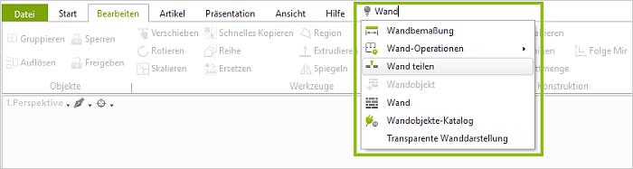 Neue Funktion im pCon.planner 8.0: Kommandosuche