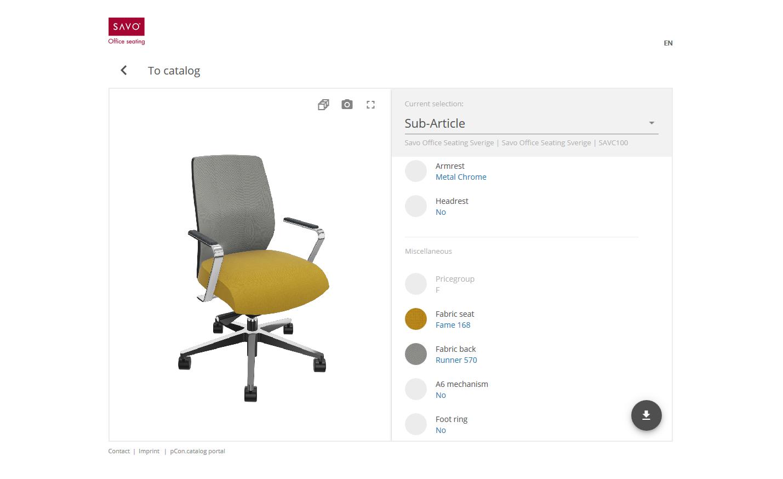 Savo Office Seating  jetzt auf pCon.catalog - mit konfigurierbaren Daten
