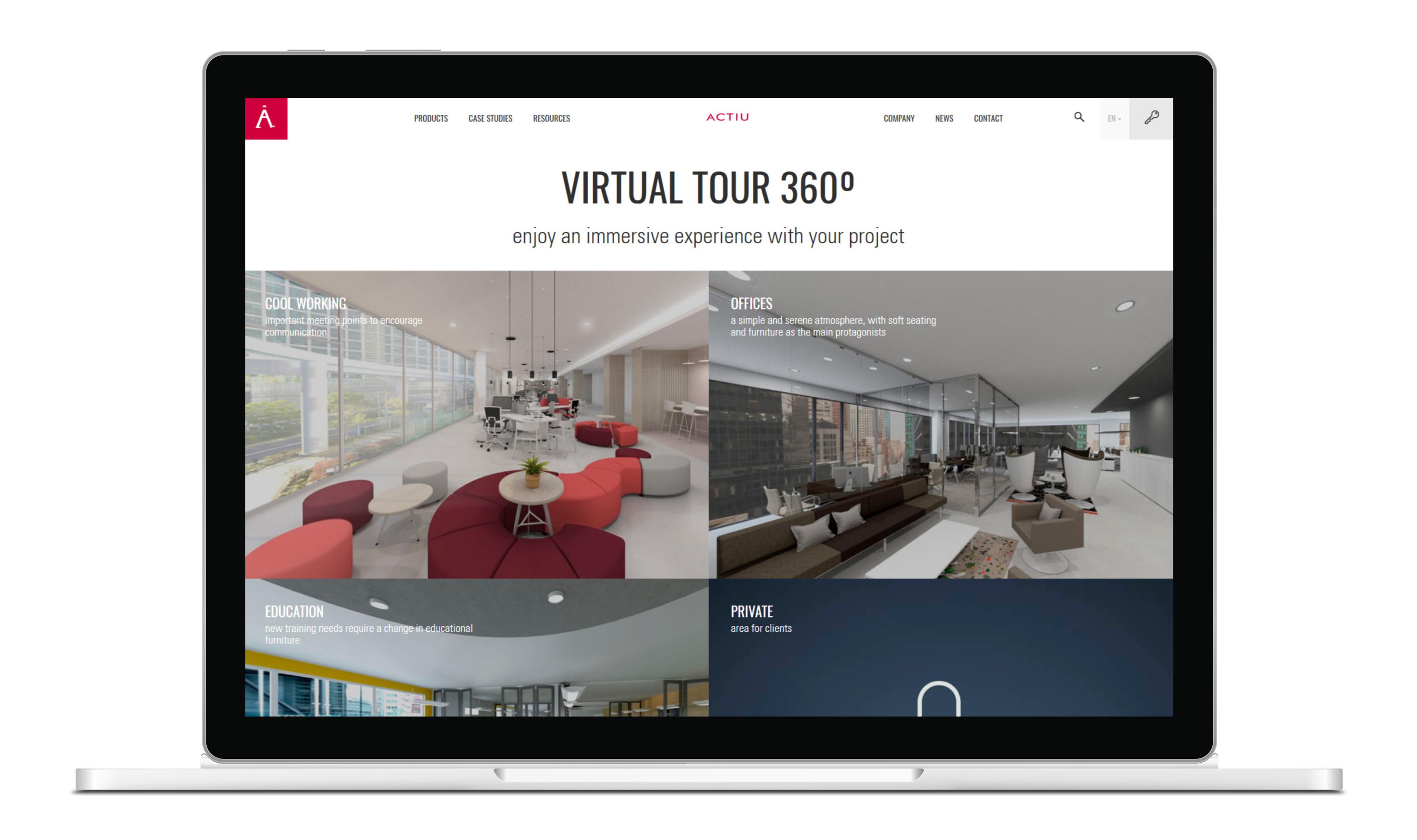 360°-Panorama-Touren auf der Webseite von Actiu