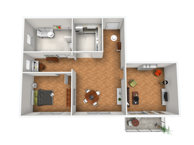 ... Rendered image: apartment overview