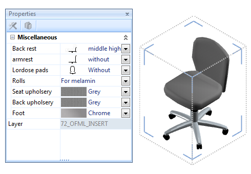 Swivel chair in the 2nd configuration