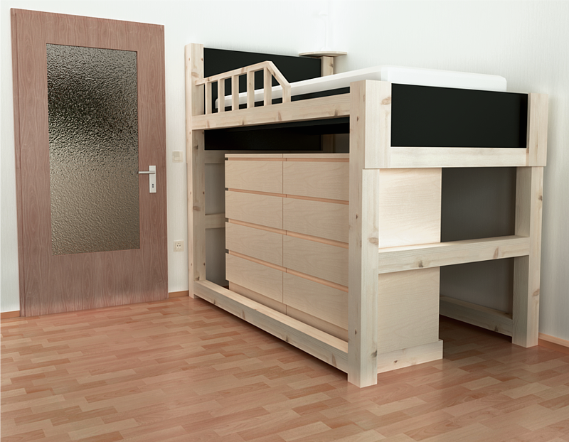 A rendered image of the bunk bed.