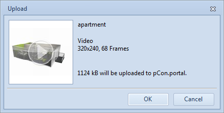 The dialog shows the size of the upload package