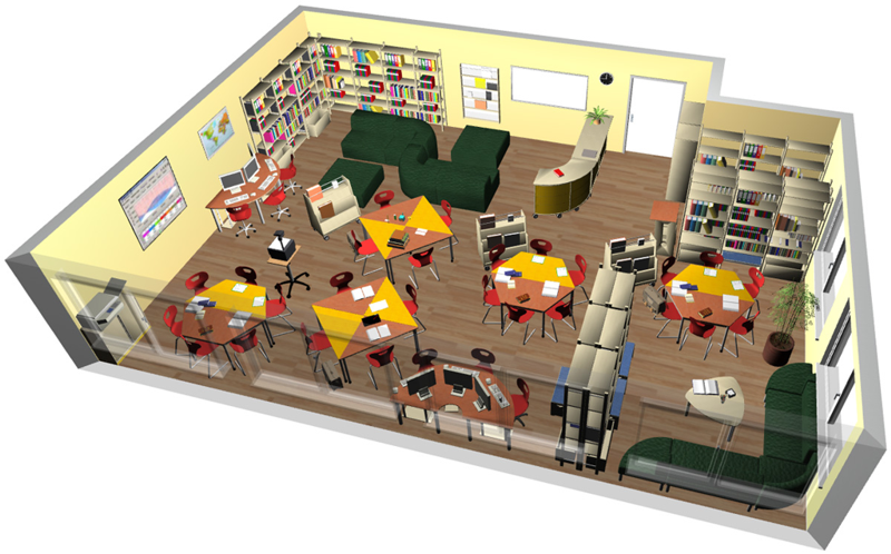 Real-time rendering of a media library planned by Wehrfritz.