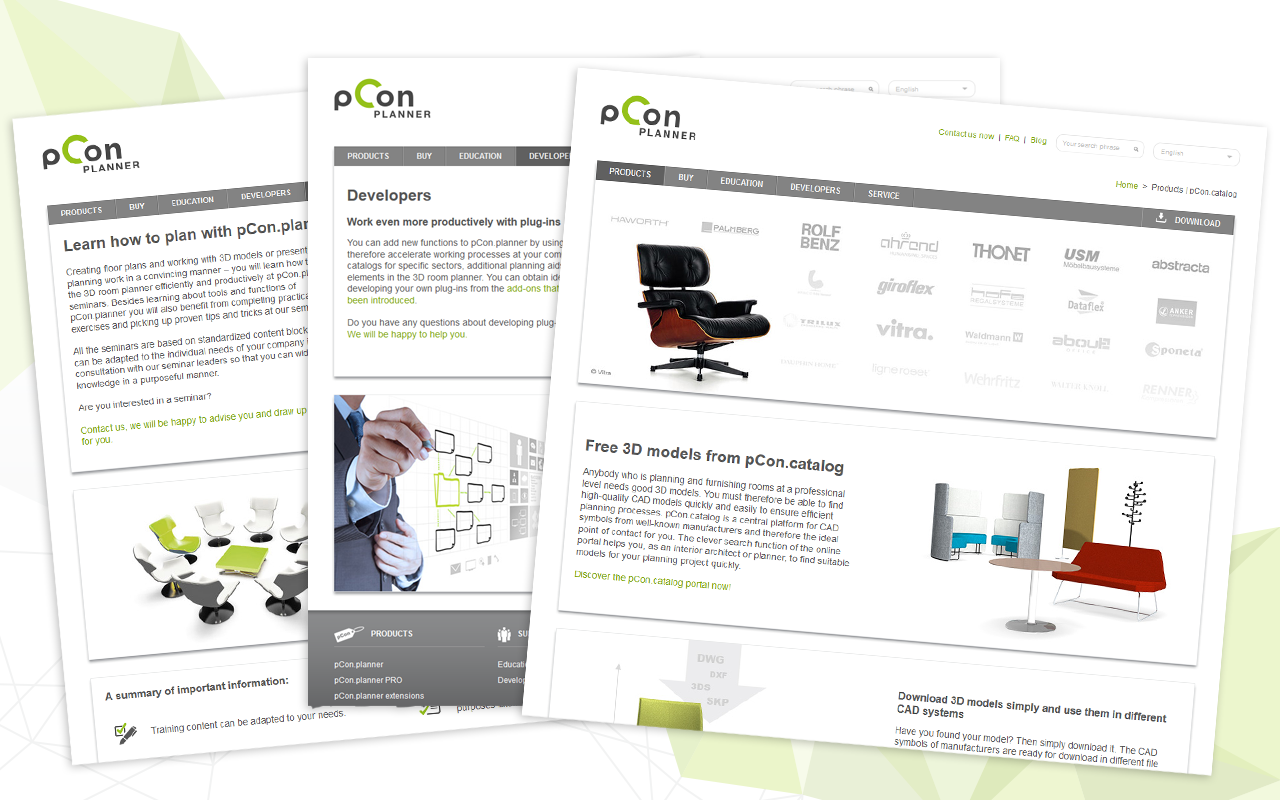 pCon.planner website: information about plug-ins, trainings, pCon.catalog, for students
