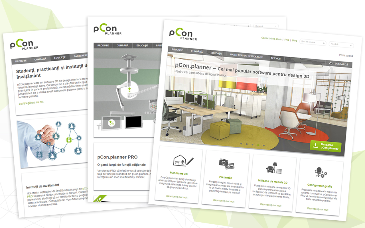 The website for the 3D interior software pCon.planner is available in Romanian