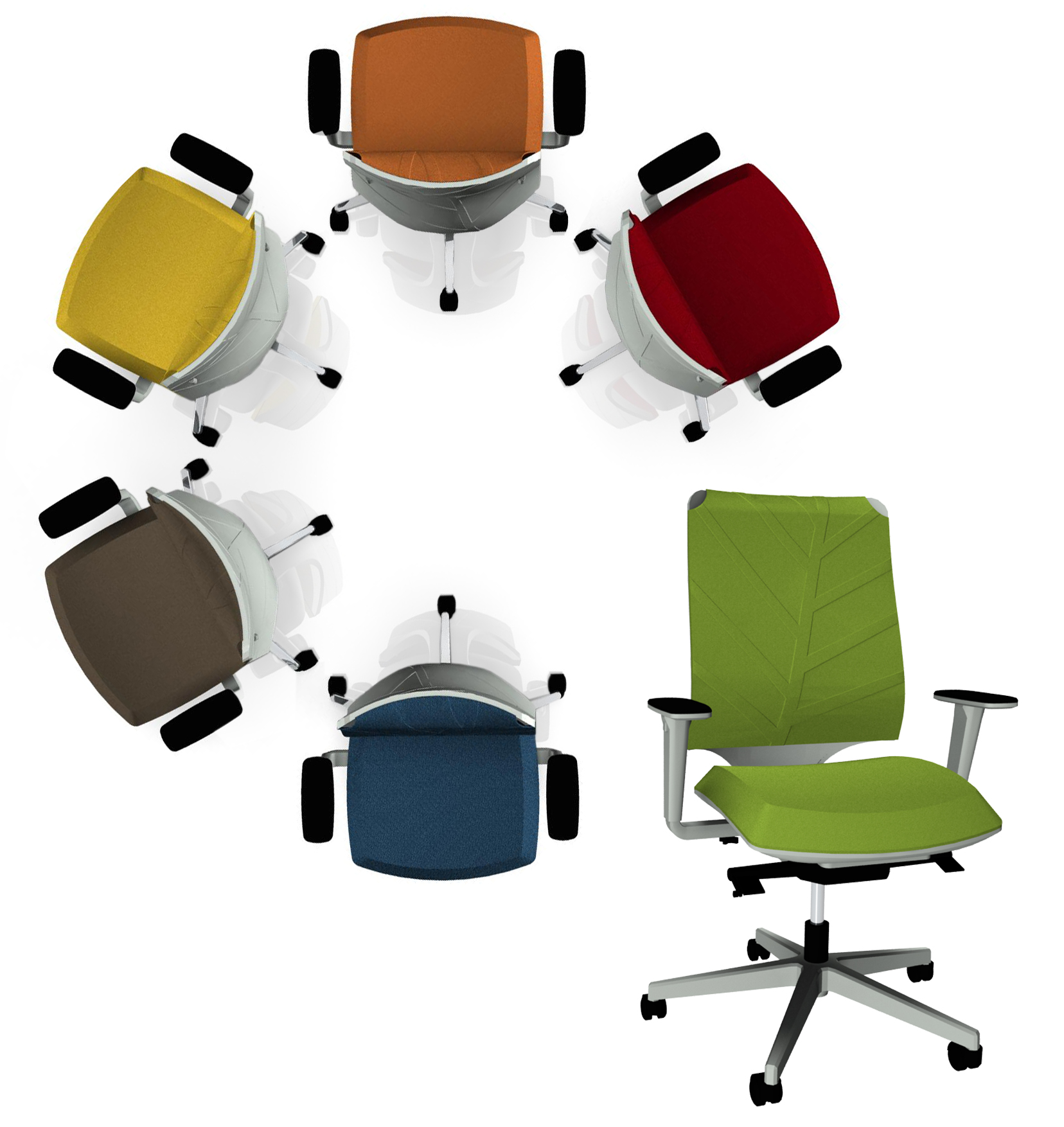 """The backrest of the swivel chair """"Leaf"""" from SitLand is inspired by leaf veins"""