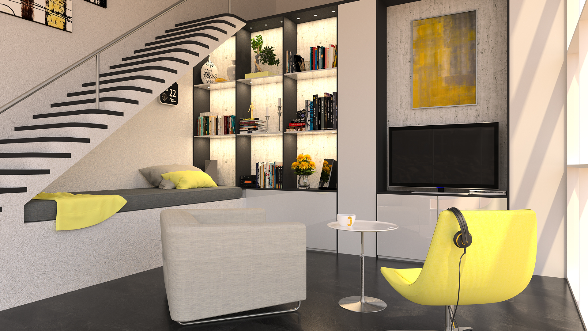 Render of a Decorated Living Room