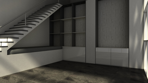 Render of an Empty Living Room with Leveled Camera