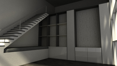 Render of an Empty Living Room with Merging Lines