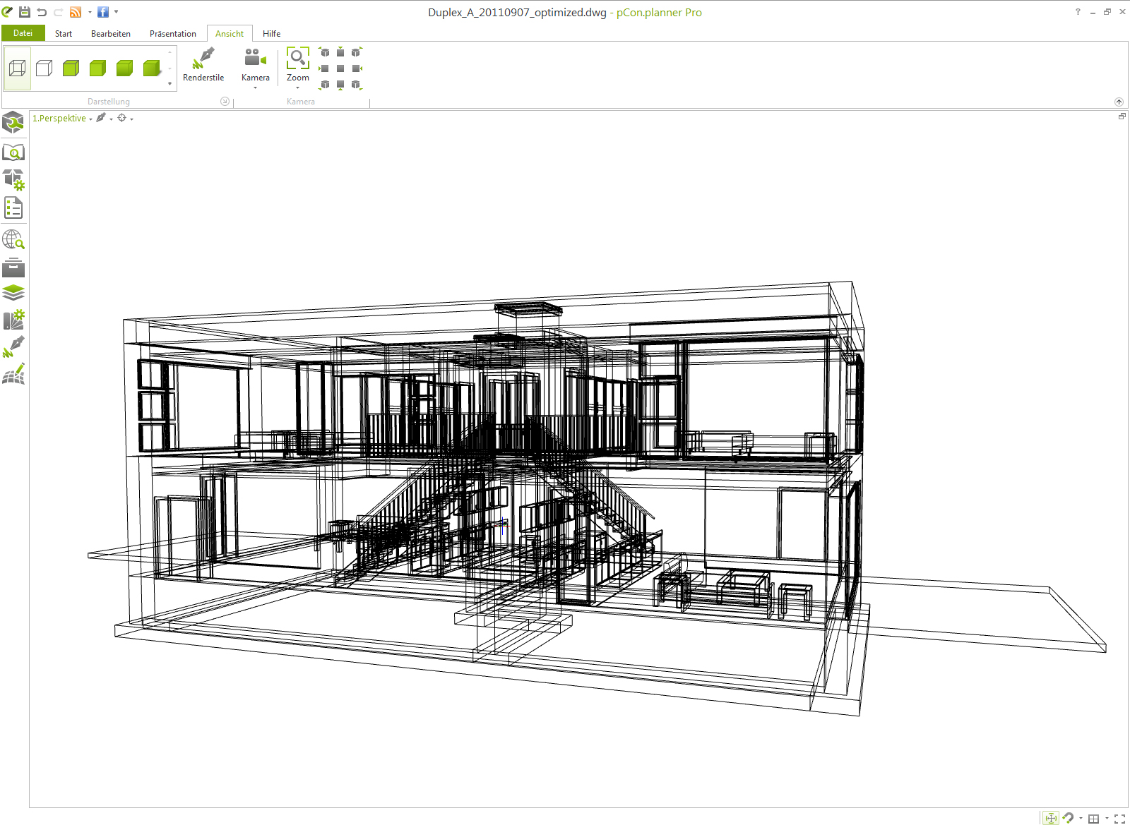 IFC model in the 3D space planner pCon.planner in wireframe mode