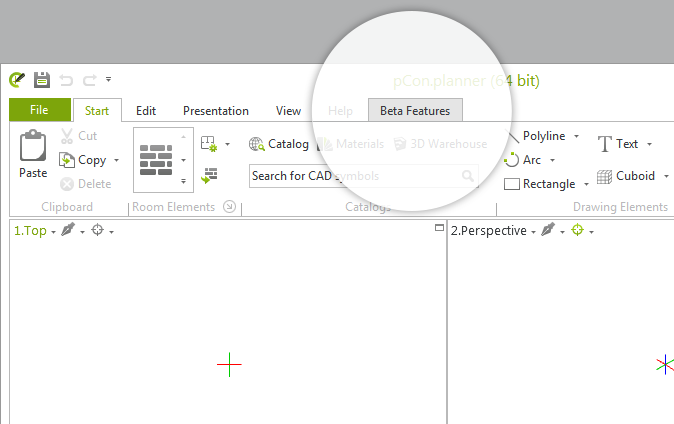 The new Beta Features tab in the pCon.planner