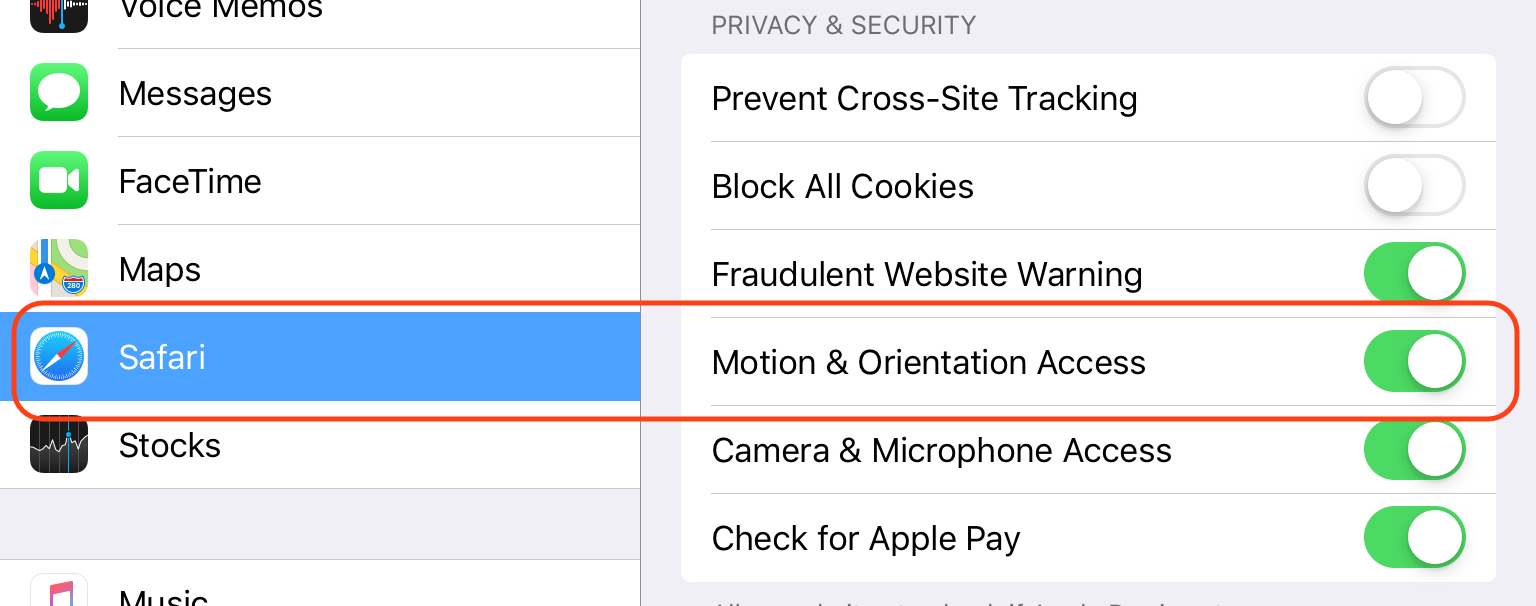 Safari Settings: Motion & Orientation Access