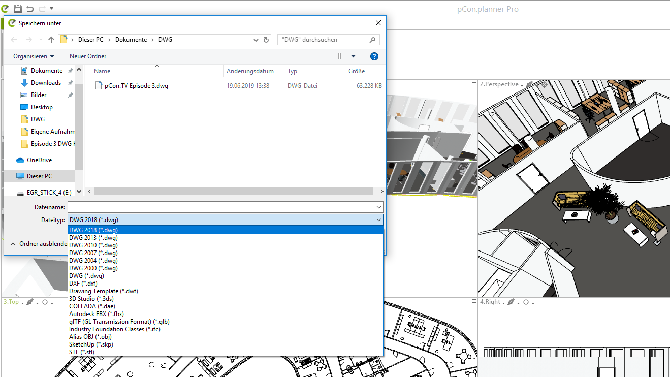 """You can export your work in different formats, like older DWG revisions. Select """"file"""", """"export"""" and """"Geometry"""" to choose your desired format."""