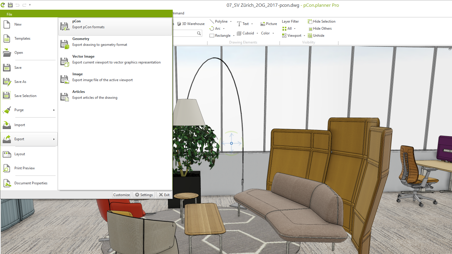 pCon.planner: Quick and easy presentation of 3D models PEC export impress