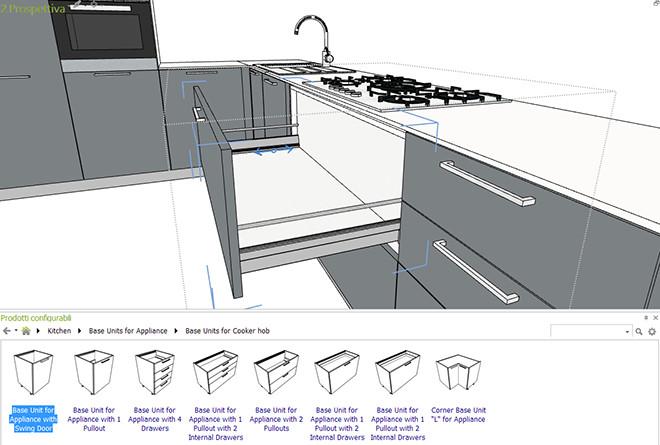 Biblioteca de cocinas disponible para profesionales geometrías configuracion Cocina 3D 2D