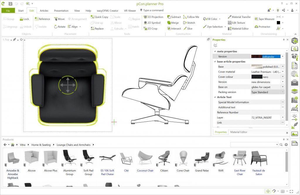 Proyección lateral 2D del Lounge Chair de Vitra