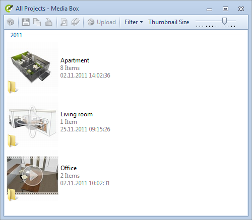 For each project is created an own directory in the Media Box