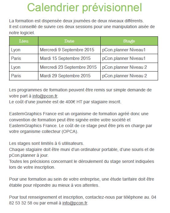 Planning de formations pCon.planner rentrée 2015