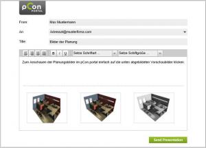 Condividi i tuoi render, animazioni e modelli 3D tramite pCon.portal via email o iPhone/iPad