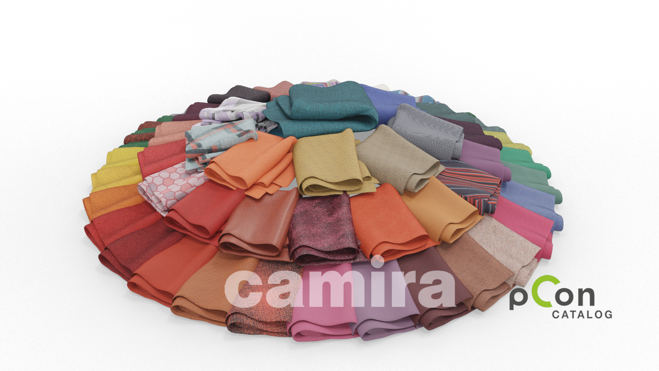 Pile of tinily folded pieces of Camira Fabrics