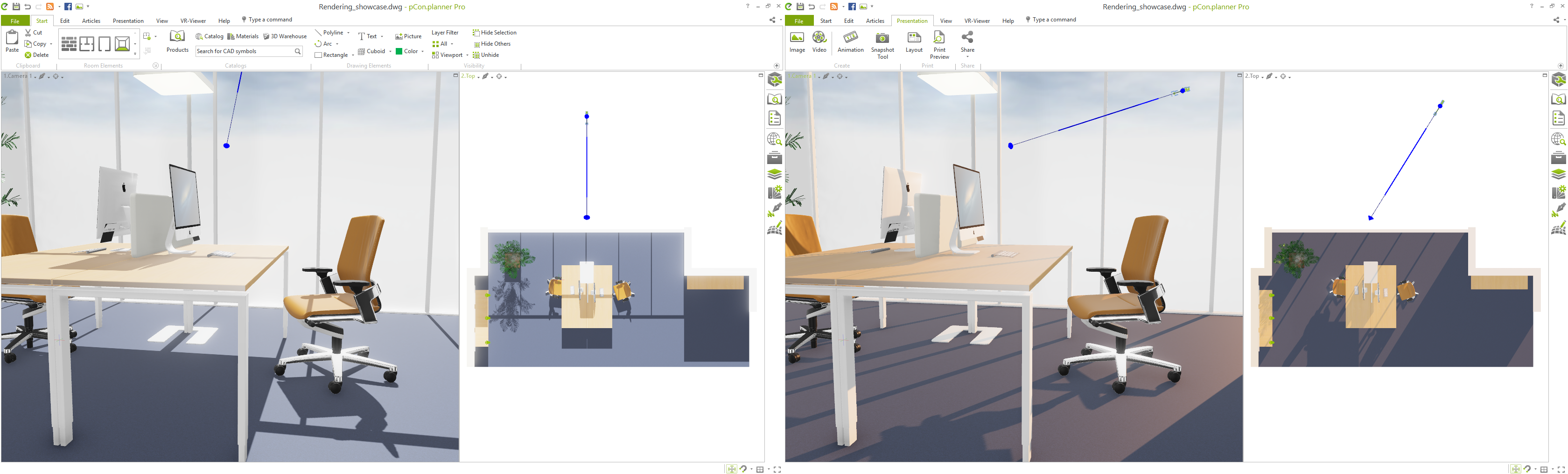 pCon.planner 8.0: A directional light serves as sun and can be adjusted directly in the planning area.