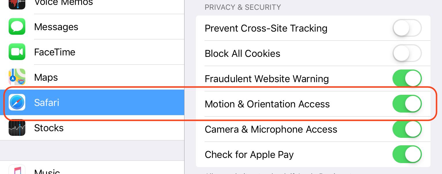 Safari Settings: Motion & Orientation Access