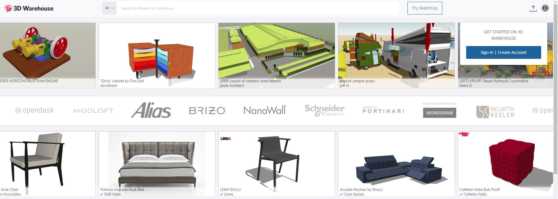 Nu: Downloaden van 3D Warehouse alleen mogelijk met een account