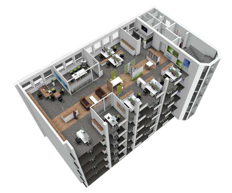 Projeto da Sedus Stoll criado e renderizado no pCon.planner