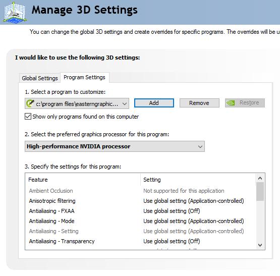 Nvidia 3D Settings