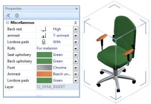 Lucrul cu obiecte configurabile scaune pCon.planner mobila birou