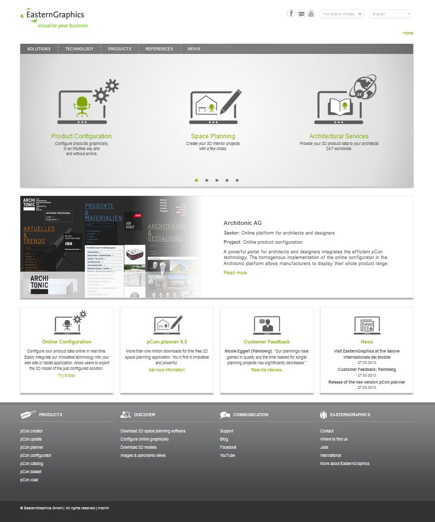 Noul site EasternGraphics site pCon.planner pcon configurare amenajare