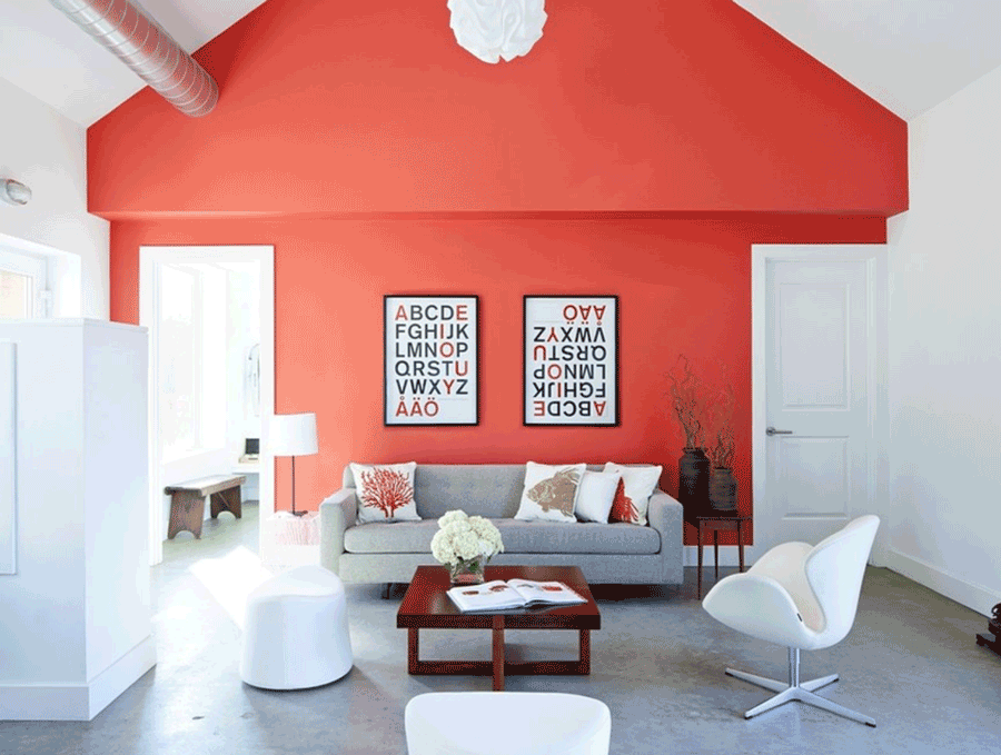 living-coral-accent-wall